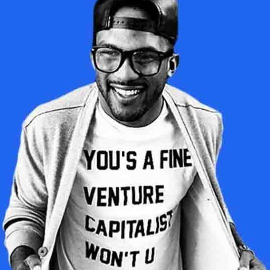 Everette in a venture capitalist t-shirt